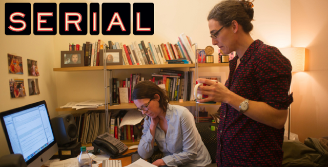 Julie Snyder (seated) and Sarah Koenig (standing) in their office working on the Serial podcast
