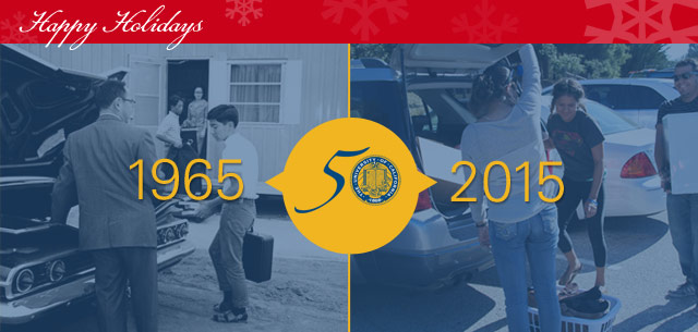 Happy Holidays 1965 2015 50 years at UC Santa Cruz logo