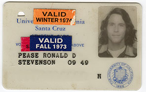 i d card ronald pease stevenson valid winter 1974 valid fall 1973