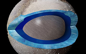 Cutaway of Pluto shows a section through the area of Sputnik Planitia, with dark blue representing a subsurface ocean and light blue for the frozen crust