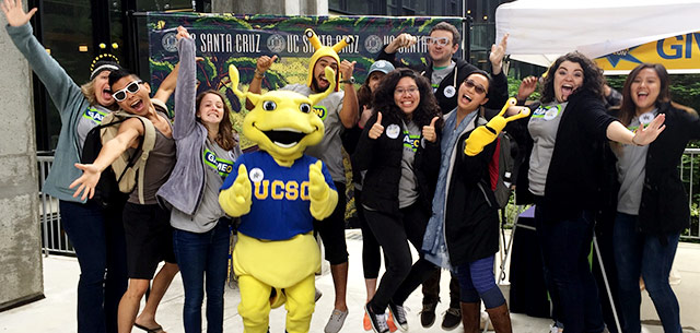 UC Santa Cruz students and staff at pop-up party on Giving Day