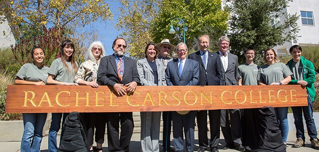 Rachel Carson College sign and dignitaries at dedication ceremony