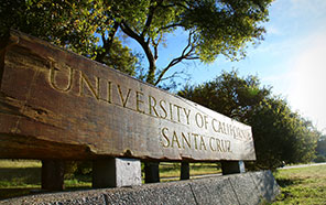 UC Santa Cruz wood sign at campus entrance