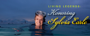 A woman in a wetsuit treads water in the ocean with diver mask on forehead. Graphic text: Living Legends: Honoring Sylvia Earle. 2017 UC Santa Cruz Foundation Medal