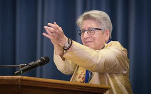 Bettina Aptheker, distinguished professor of feminist studies at UC Santa Cruz, was honored as the inaugural appointee to the Presidential Chair (Photo by Steve Kurtz)