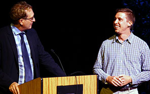 Vice Provost and Dean of Graduate Studies Tyrus Miller, left, talks with John Felts during the UC Santa Cruz Grad Slam
