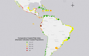 North and South American coasts show risky areas for living.