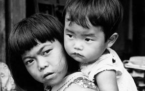 Vintage photo of children in Okinawa.