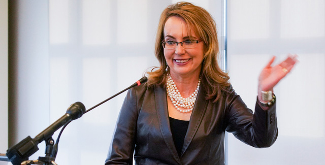 Gabby Giffords speaks at Chronicle Books in San Francisco.